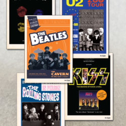 postcards featuring The beatles The Rolling Stones U2 Kiss and Queen in custom lego designs