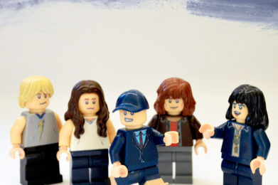 ACDC Lego minifigure created by Bloom Design, Angus Young, Bon Scott, Malcolm Young, Phil Rudd, Cliff Williams