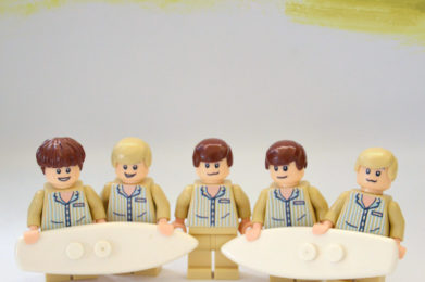 Beach Boys Lego minifigure created by Bloom Design, Brian Wilson, Mike Love, Dennis Wilson, Al Jardine, Carl Wilson