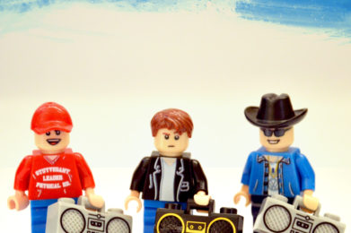Beastie Boys Lego minifigure created by Bloom Design, Ad Rock, MCA, Mike D