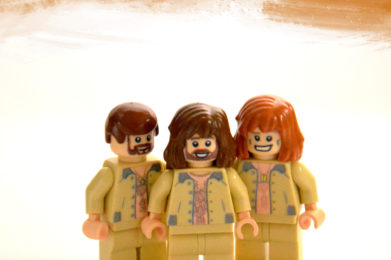 Bee Gees Lego minifigure created by Bloom Design, Barry Gibb, Maurice Gibb, Andy Gibb