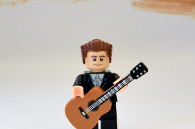 Bob Dylan Lego minifigure created by Bloom Design