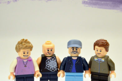 Coldplay Lego minifigure created by Bloom Design, Chris Martin, Will Champion, Guy Berryman, Johnny Buckland