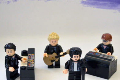 Depeche Mode Lego minifigure created by Bloom Design, Dave Gahan, Martin Gore, Andrew Fletcher, Alan Wilder