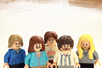 The Eagles Lego minifigure created by Bloom Design, Glen Frey, Don Henley, Joe Walsh, Randy Meisner, Don Felder