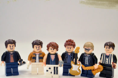 "INXS Lego minifigure created by Bloom Design, Michael Hutchence, Andrew Farriss, Tim Farriss, Jon Farriss, Kirk Pengilly, Gary ""Bear"" Beers"