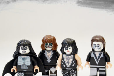 Kiss Lego minifigure created by Bloom Design, Gene Simmons, Paul Stanley, Peter Criss, Ace Frehley
