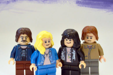 Led Zeppelin Lego minifigure created by Bloom Design, Robert Plant, Jimmy Page, John Paul Jones, John Bonham