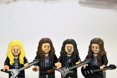 Metallica Lego minifigure created by Bloom Design, Jason Hetfield, Lars Ulrich, Kirk Hammett, Jason Newsted
