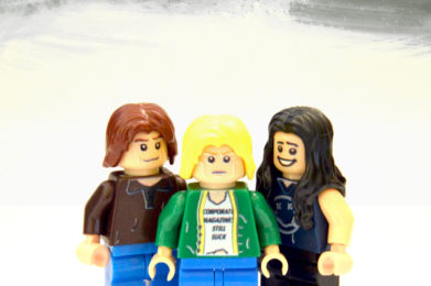 Nirvana Lego minifigure created by Bloom Design, Kurt Cobain, Krist Novoselic, Dave Grohl