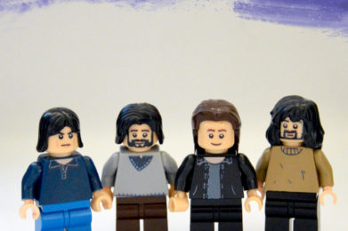 Pink Floyd Lego minifigure created by Bloom Design, Roger Waters, Nick Mason, David Gilmour, Rick Wright