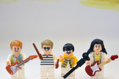 Queen Lego minifigure created by Bloom Design, Freddie Mercury, Brian May, Roger Taylor, John Deacon