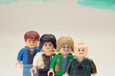 R.E.M. Lego minifigure created by Bloom Design, Michael Stipe, Mike Mills, Peter Buck, Bill Berry