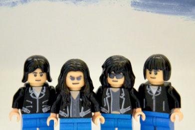 The Ramone Lego minifigure created by Bloom Design, Joey Ramone, Dee Dee Ramone, Tommy Ramone, Johnny Ramone