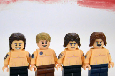Red Hot Chili Peppers Lego minifigure created by Bloom Design, Anthony Kiedis, Flea, John Frusciante,Chad Smith