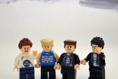 Sex Pistols Lego minifigure created by Bloom Design, Johnny Rotten, Sid Vicious, Paul Cook, Steve Jones
