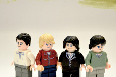 Talking Heads Lego minifigure created by Bloom Design, David Byrne, Tina Weymouth, Chris Frantz, Jerry Harrison
