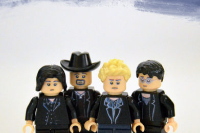 U2 Lego minifigure created by Bloom Design, Bono, The Edge, Adam Clayton, Larry Mullen Jr