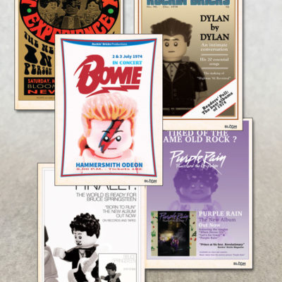 postcards featuring David Bowie Bob Dylan Bruce Springsteen Jimi Hendrix and Prince in custom lego designs