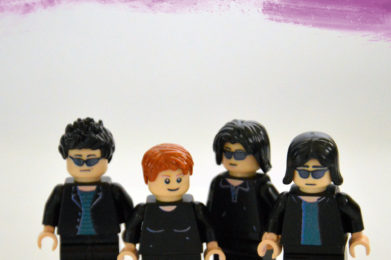 The Velvet Underground Lego minifigure created by Bloom Design, Lou Reed, Mo Tucker, Sterling Morrison, John Cale